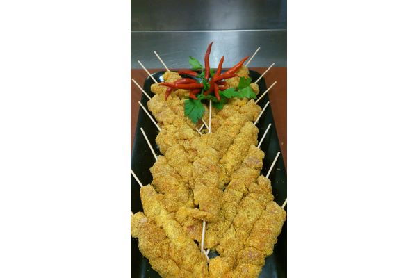 POLENTA FLOUR CHICKEN SKEWERS WITH PAPRIKA AND CHILI